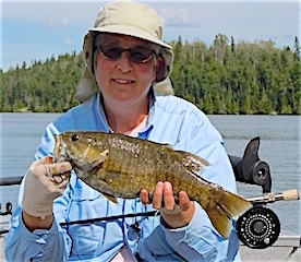 Fly Fishing Trophy Smallmouth Bass by Leah